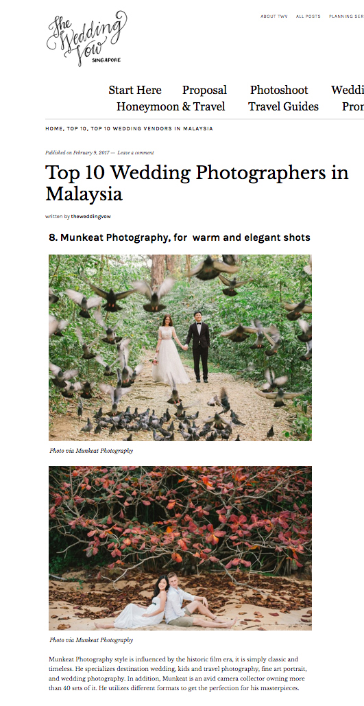 The Wedding Vows Singapore - Malaysia Top 10 Wedding Photographer