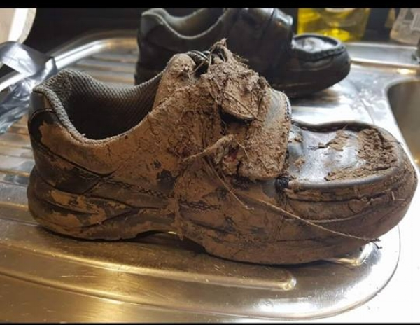 underneath this pile of crusty mud there is a beautiful overpriced Clarks shoe just desperate to get out.