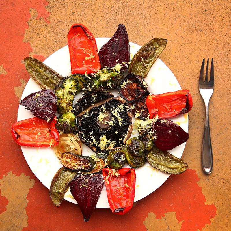 roasted beets, jalapenos, anaheims, pasillas, romas, portobella cap, lemon zest