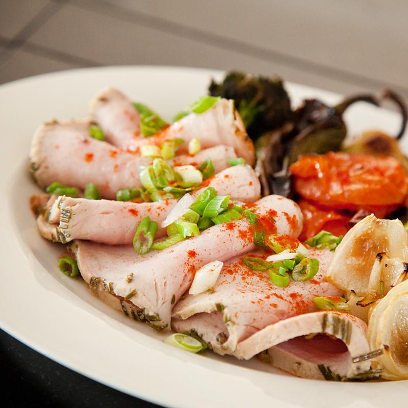 roasted pork tenderloin, tasting of local vegetables