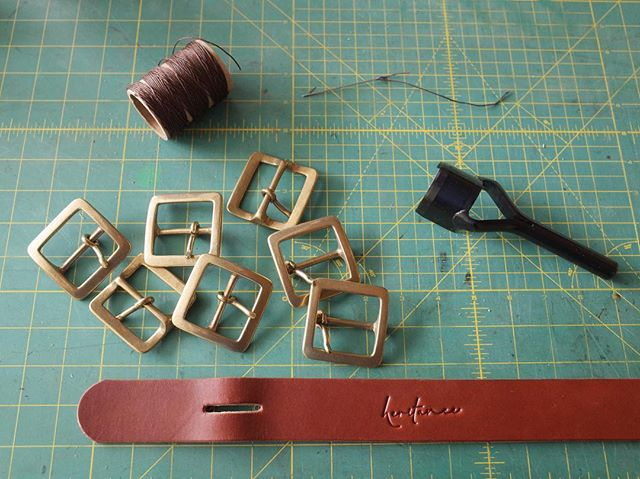 New buckle choice coming soon.... these are brass  center-bar buckles made in in Japan.