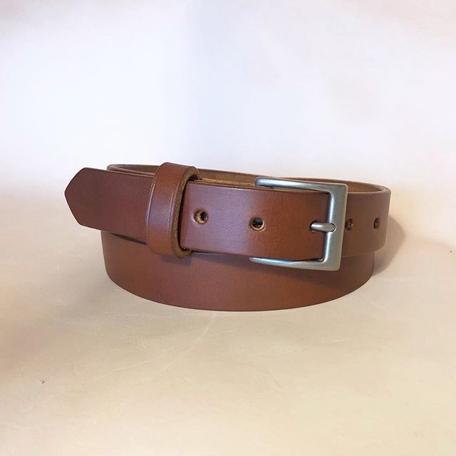 Simple brown dress belts in production for an upcoming wedding! (Fun fact: picture was taken with 3oz veg tan side as the back drop) #weddingattire