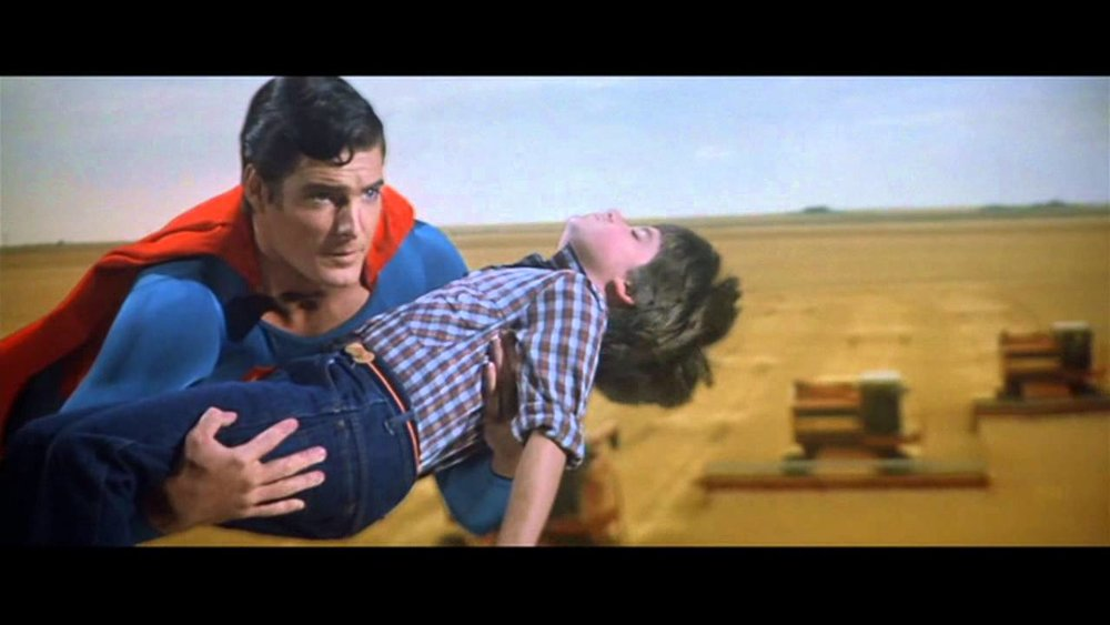 Christopher Reeve as Superman III rescues  Paul Kaethler  as Little Jimmy Lang © Warner Bros.