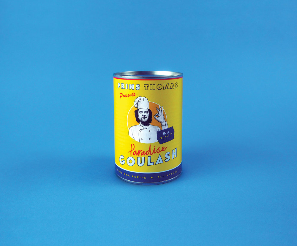 Norwegian producer Prins Thomas presents his 3LP compendium entitled 'Paradise Goulash', a marathon adventure into his ingenious style. A concept was developed creating a customised Prins Thomas branded 'can of goulash' to face the project.