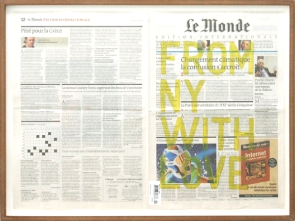 Rirkrit Tiravanija Untitled (From NY with Love, Le Monde), 2010 Newspaper and oil paint, mdf frame 52 x 68,5 cm Courtesy the artist and Gavin Brown's Enterprise