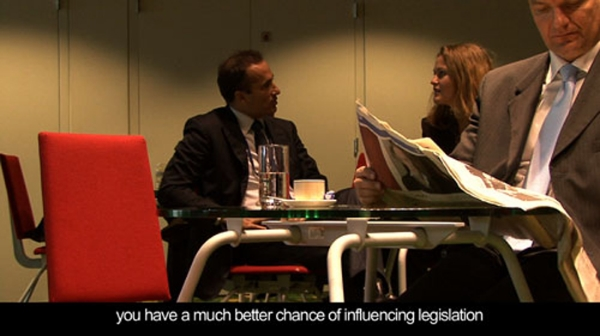 Still of  Lobbyists , 2009 Video HD, color, sound, 16 min Courtesy the artists