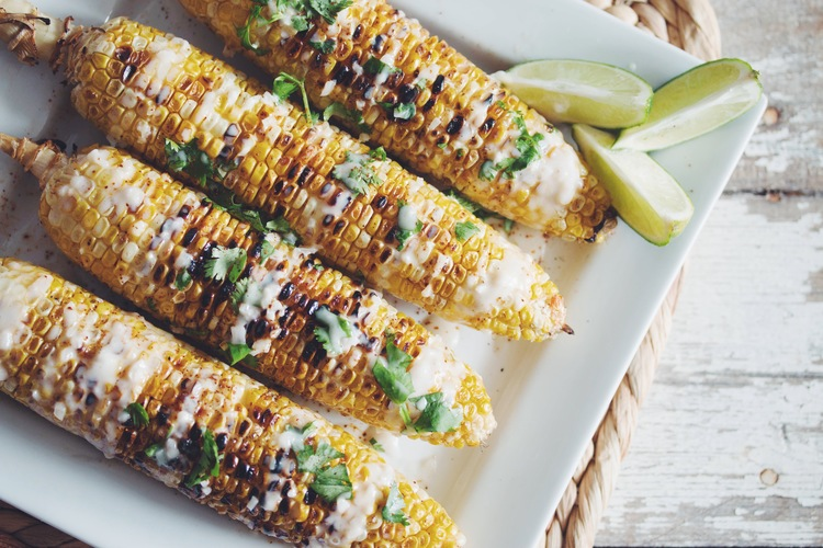 Grilled Corn-on-the-Cob with Coconut Lime Cream  via Hot for Food Blog.   Click image for recipe.