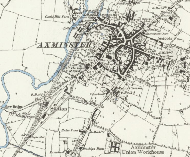 (Image: Map of Axminster.  Source Link