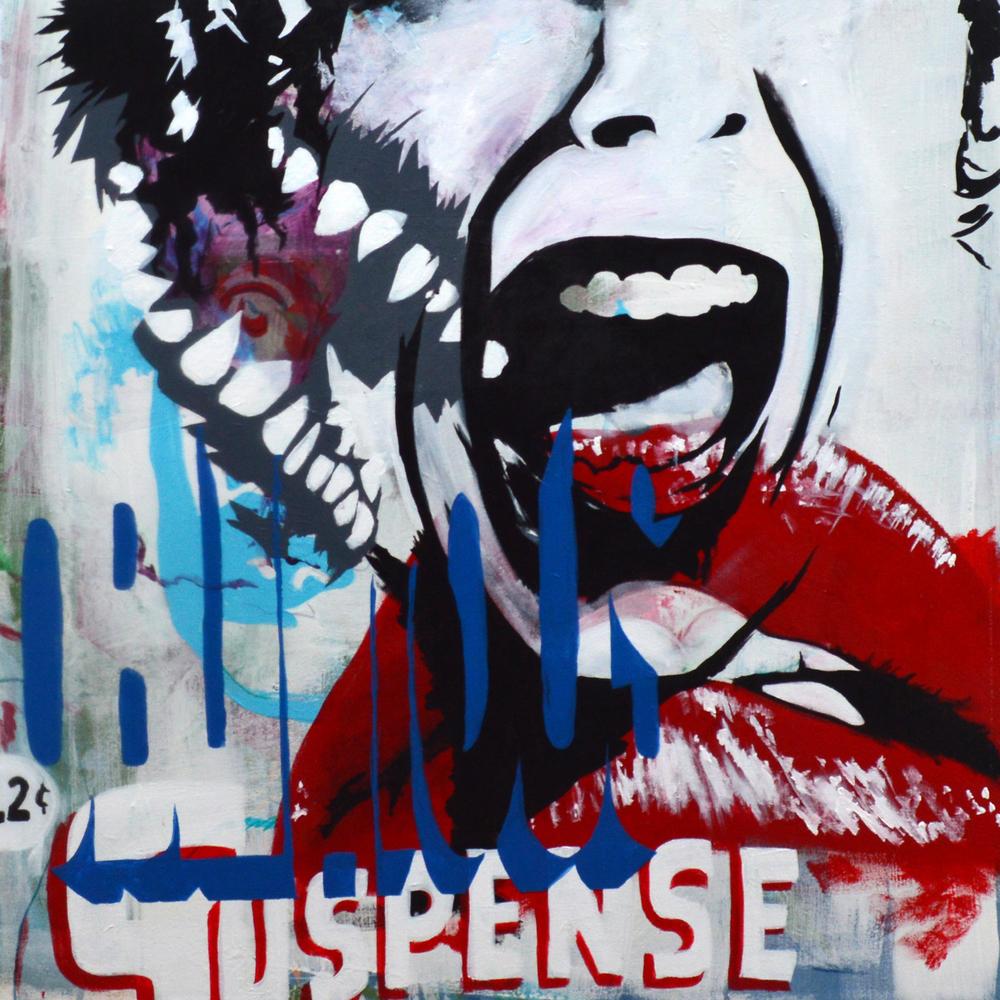 "12 Cent Oblivious Suspense,  acrylic on canvas, 32""x32"", 2012"