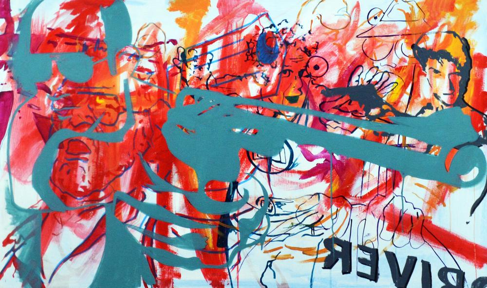 "Anti-Hero Driver , acrylic on canvas, 30""x50"", 2012"