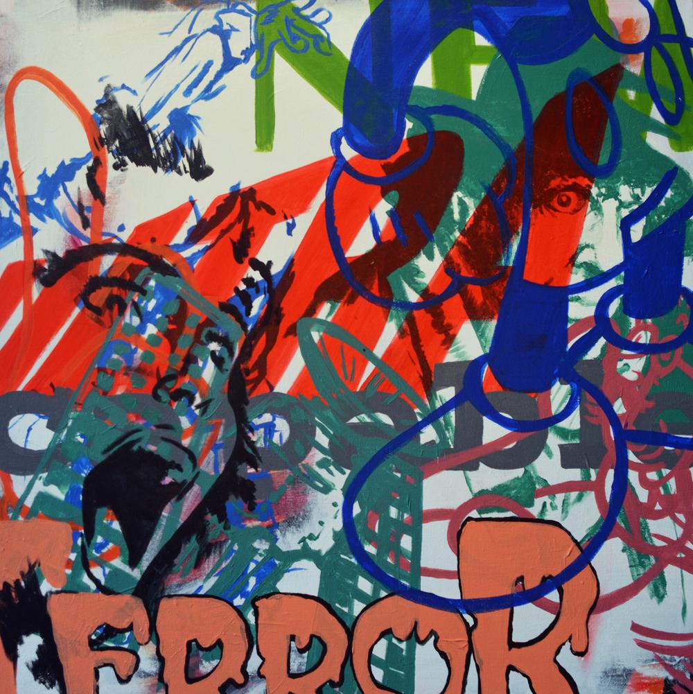 "New Ultra Capable Terror,  acrylic on canvas, 32""x32"", 2013"