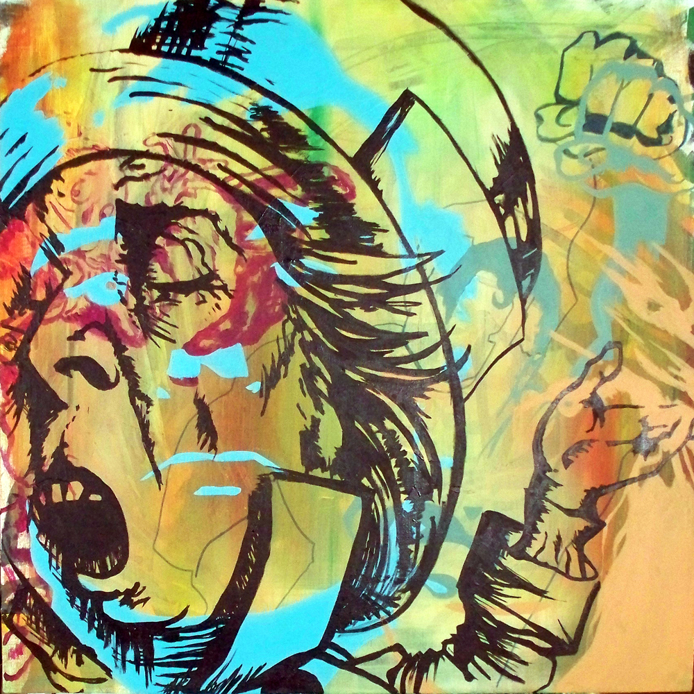 "Super - Ego II , acrylic on canvas,30""x30"", 2012 (sold)"
