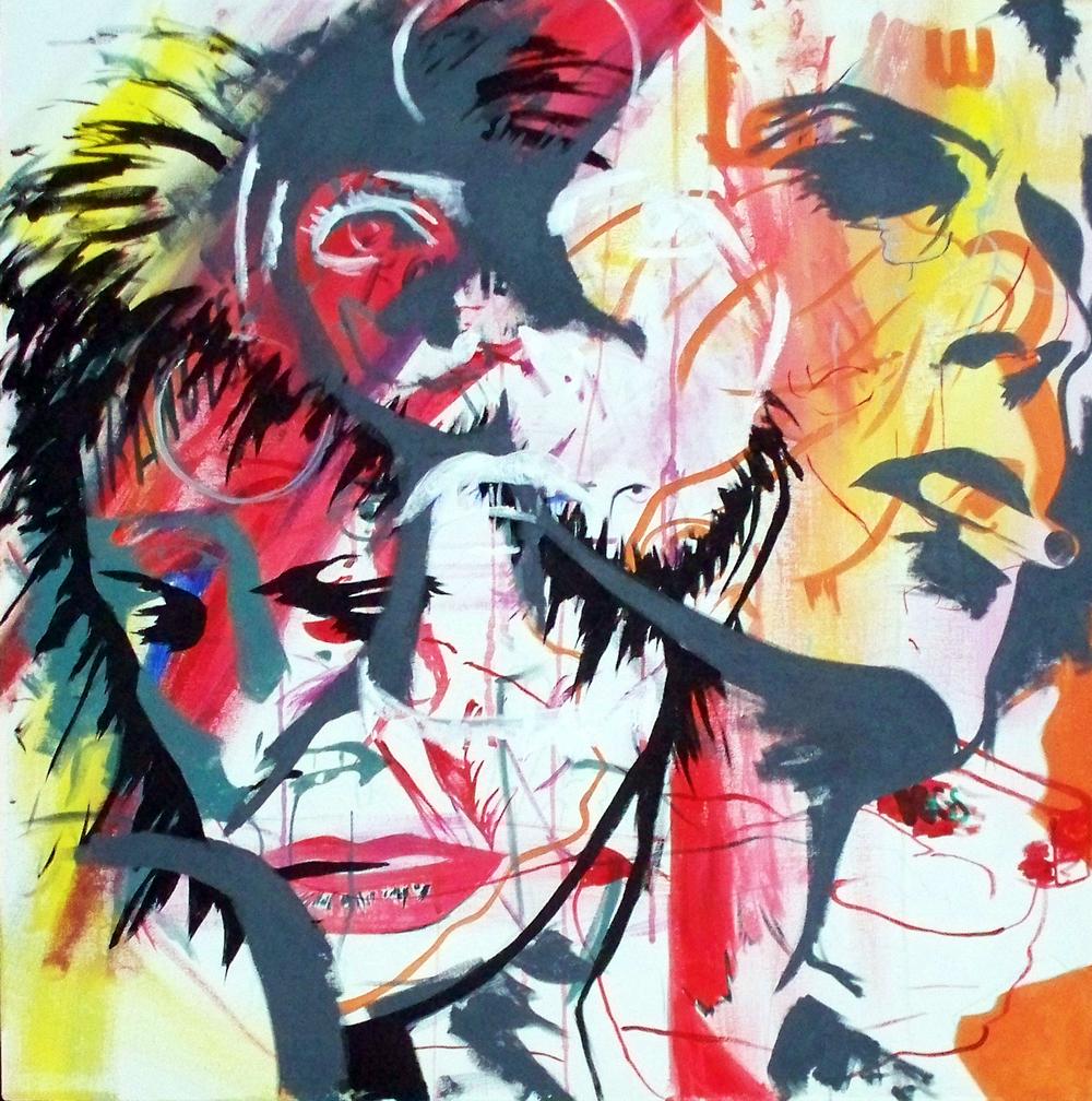 "Thin W Duke , acrylic on canvas, 32""x32"", 2012 (sold)"