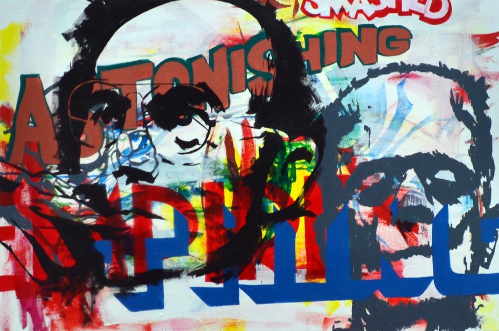 """Smashed Astonishing Empire Thing , acrylic on canvas, 24""""x36"""", 2012 (sold)"""