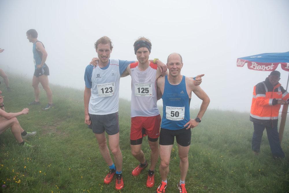 Die drei schnellsten des Tages: Daniel Lustenberger (3.) Stefan Lustenberger (1.) und Manfred Jauch (2.)