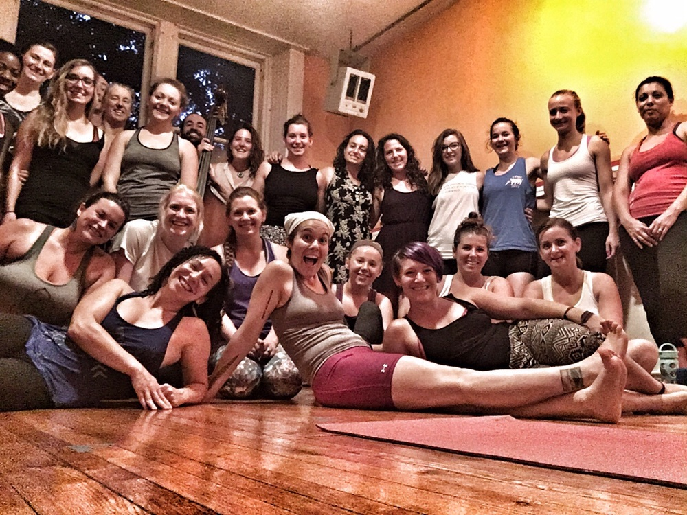 Look at all these happy yogi's after our live music class with Ley Line on July 26!
