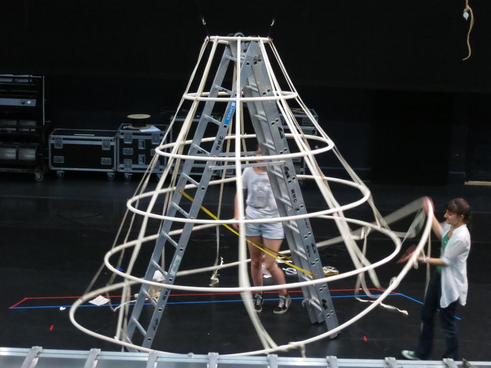 Phoebe and designer Zepur Agopyian    Crinoline Construction: Phoebe Tonkin & Angharad Matthews
