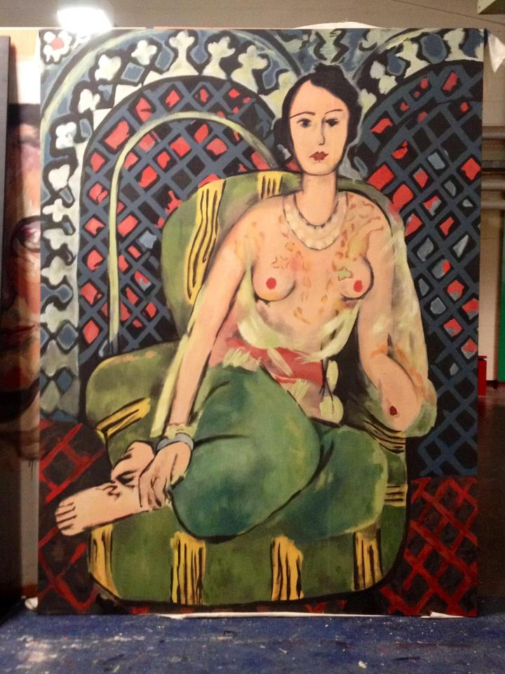 Henri Matisse's  Odalisque scaled up and painted by Phoebe Tonkin