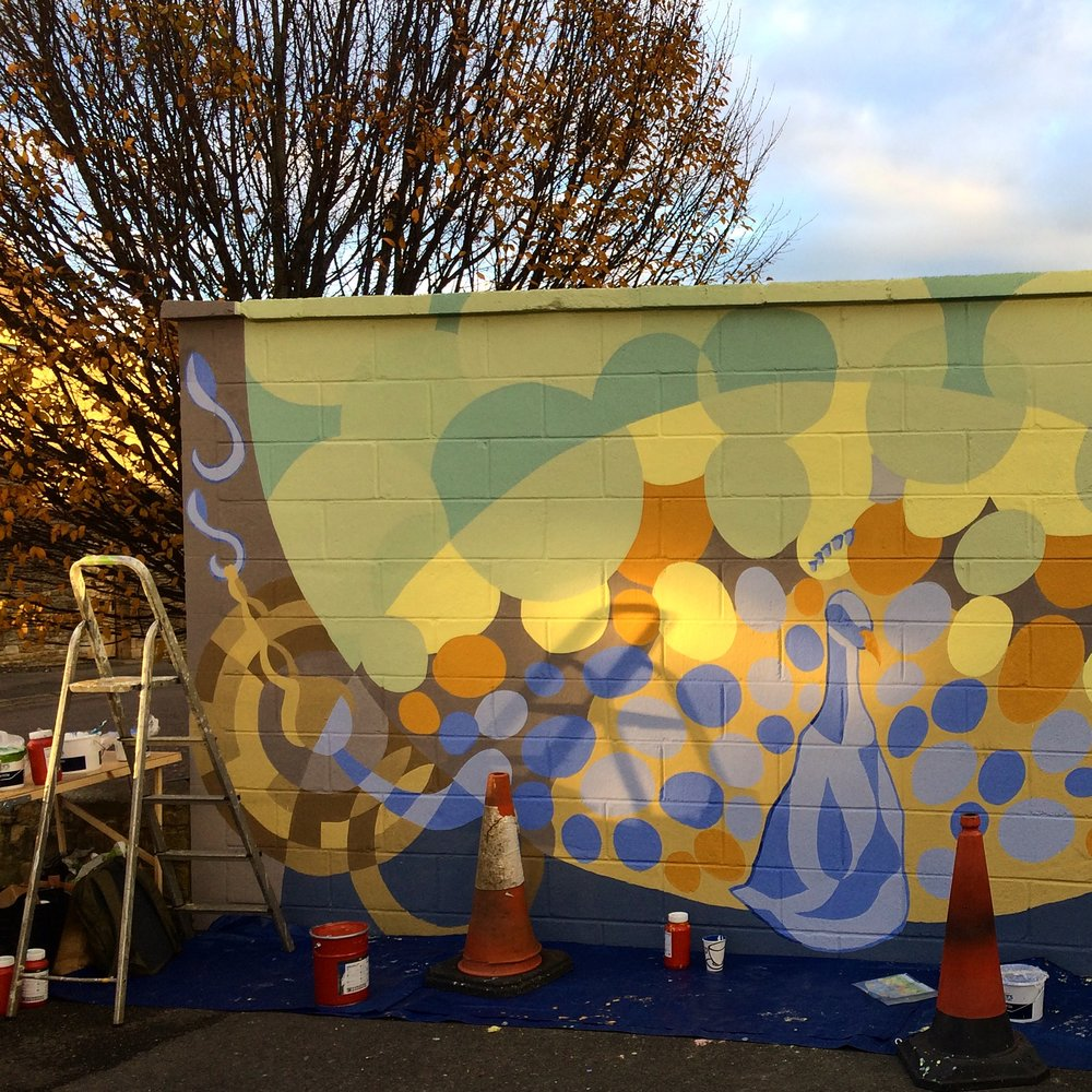 Development shot of the Corsham Mural