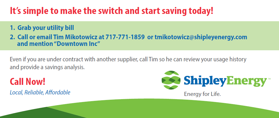 Save money on your natural gas & electricity bills through Shipley Energy to benefit Downtown Inc