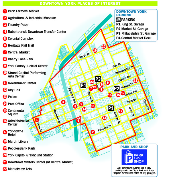 Downtown York PA Map