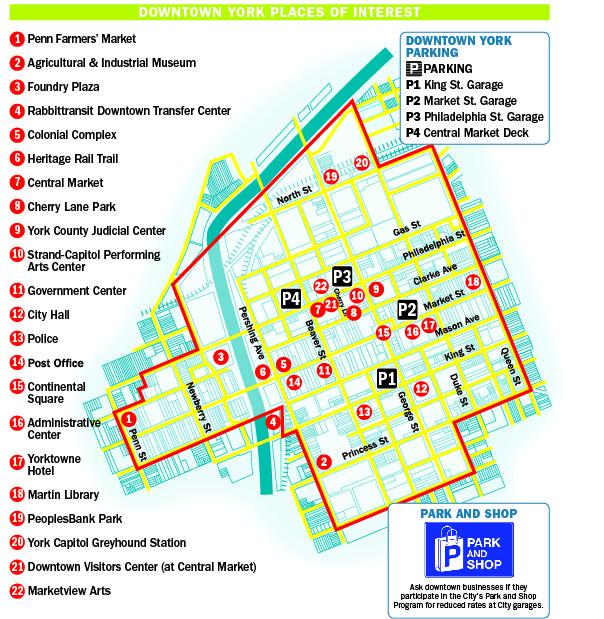 Downtown York PA Map