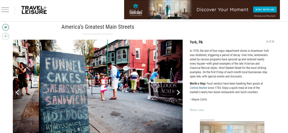 Travel + Leisure - America's Greatest Main Streets - Downtown York, PA
