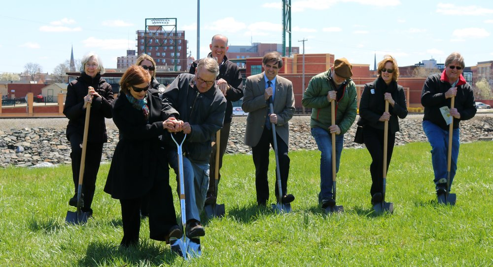York County Commissioner Susan Byrnes and Carl Knoch, Chairman of the York County Rail Trail Authority, lead the groundbreaking ceremony for the next phase of the Northern Extension on April 20, 2018.