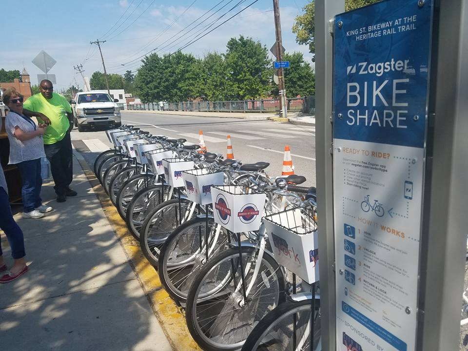 Riders can rent Zagster bicycles at three stations around Downtown York.