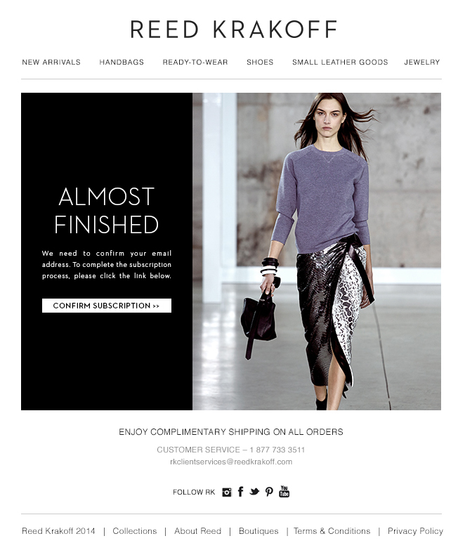 Reed Krakoff Confirm Subscription Email
