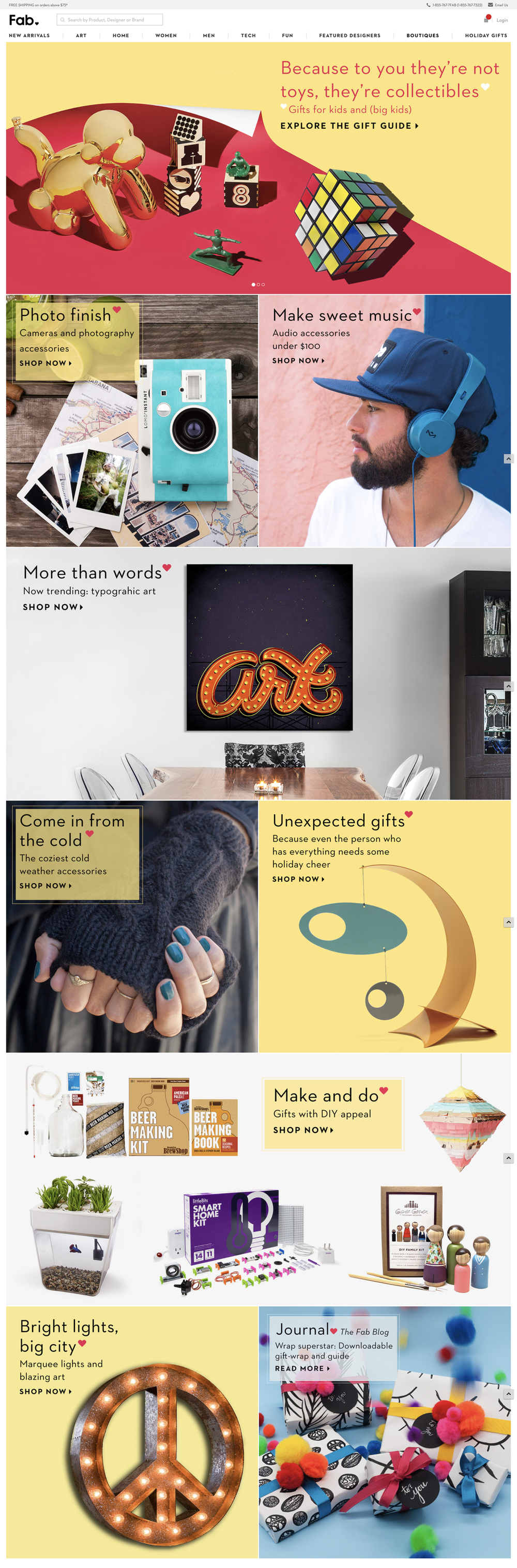 Fab.com Re-design Holiday Campaign