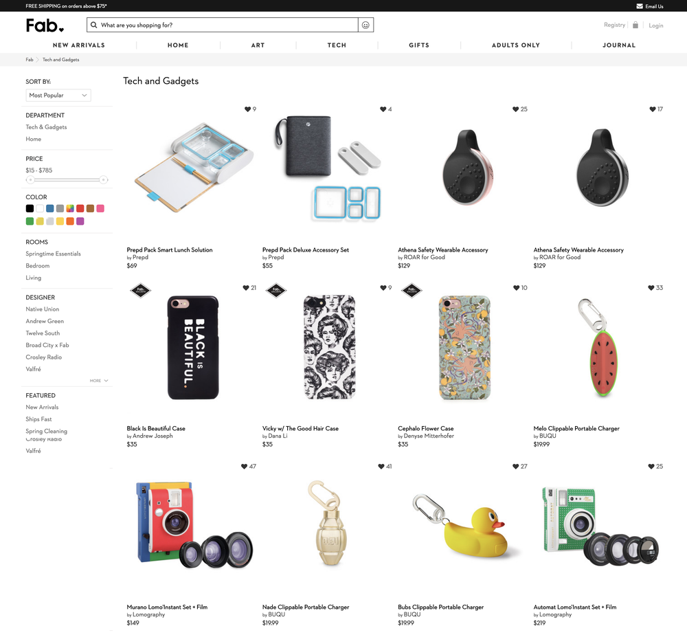 Fab.com Product Category Page