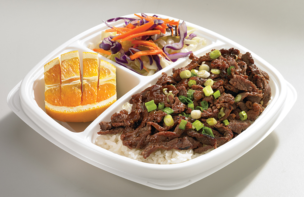 Angus Beef | (840 Cal. / 175mg Chol.) A serving of beef prepared with our own The Flame Broiler marinade served over your choice of White or Brown Rice.