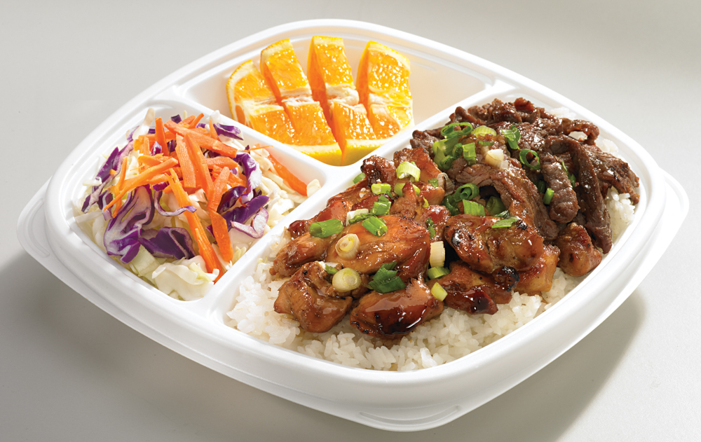 Chicken & Angus Beef | (820 Cal. / 180mg Chol.) The Flame Broiler sauce-basted chicken and marinated beef served together over your choice of White or Brown rice.