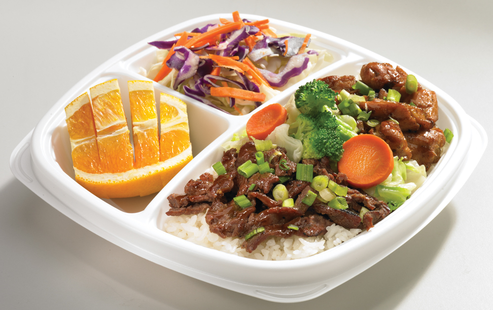 The Works | (700 Cal. / 180mg Chol.) The Flame Broiler sauce-based chicken and marinated beef served over your choice of White or Brown rice and steamed vegetables.