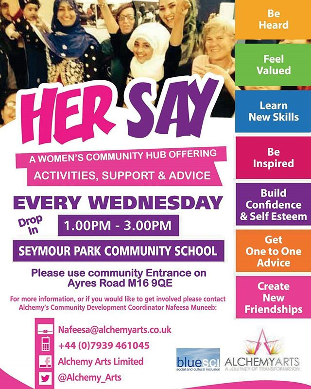 Ladies, don't forget to drop in to Hersay every Wednesday 1pm - 3pm at Seymour Park Community  Centre  The project aims to encourage local BME women from the community to have a voice and realise their true potential  Our aim is to empower women to take control of their lives so they can come together in a safe environment to meet new people and create lasting friendships.