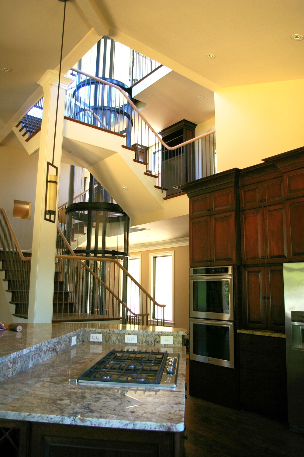 Glass elevator as seen from kitchen