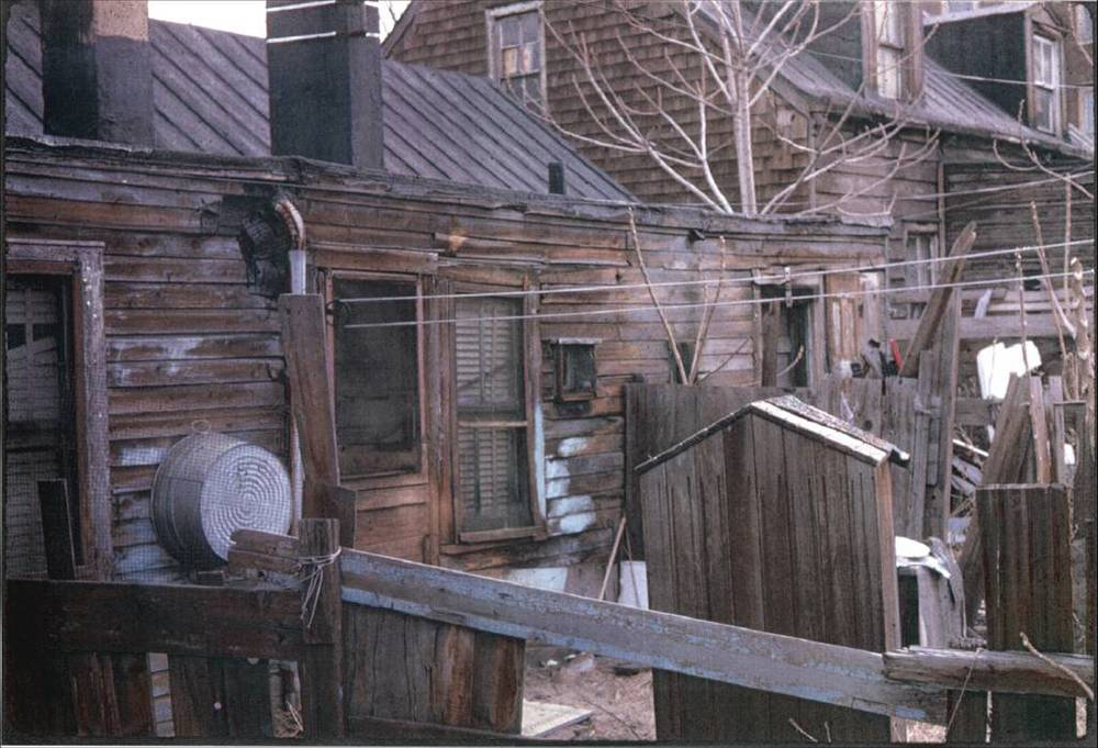 Backyard fences, 1702-1704 Bergen Street, ca. 1968