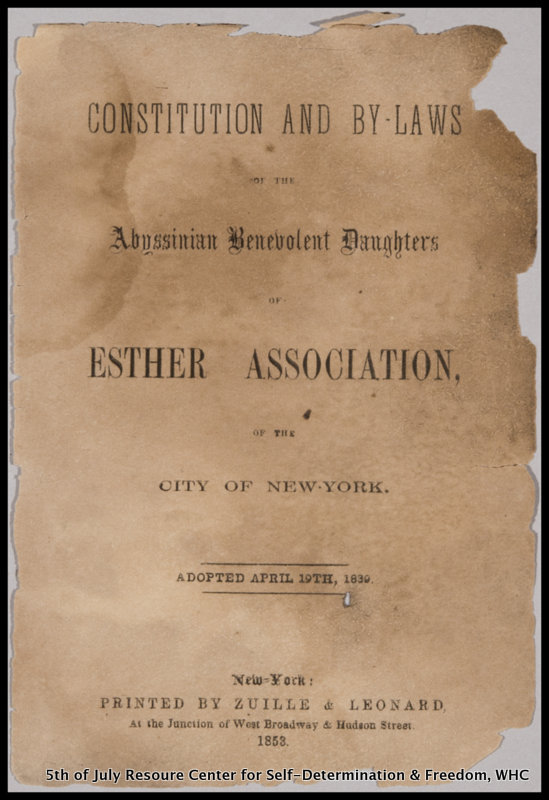 (Original) Constitution and By-laws of the Abyssinian Benevolent Daughters of Esther Association, printed in 1853 by John Zuille, a prominent African American printer in mid 19th-century Brooklyn, and one of the earliest documents recovered during the Weeksville community archaeological digs.