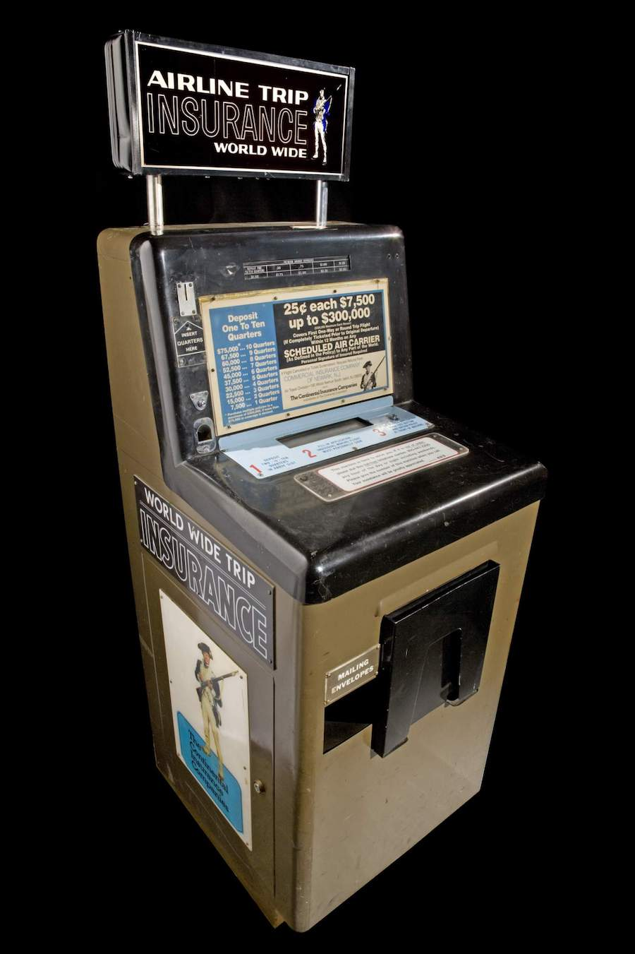 """An intact airport flight insurance vending machine in the collection of the Smithsonian's    """"America By Air"""" online exhibit   ."""