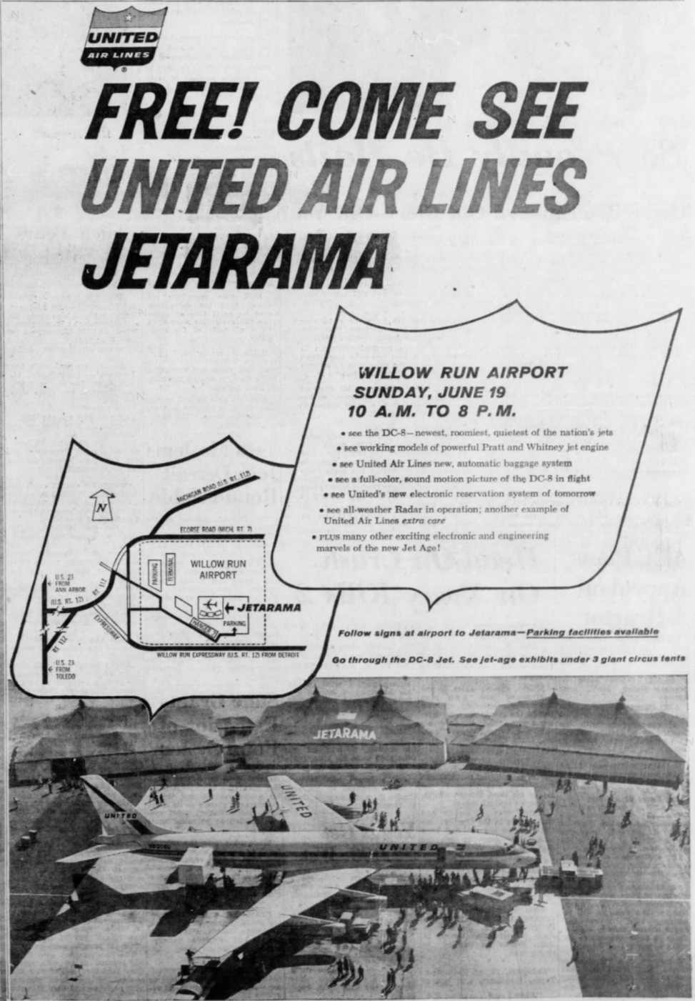 June, 1960 full-page newspaper ad, announcing United's Willow Run JETARAMA open house.