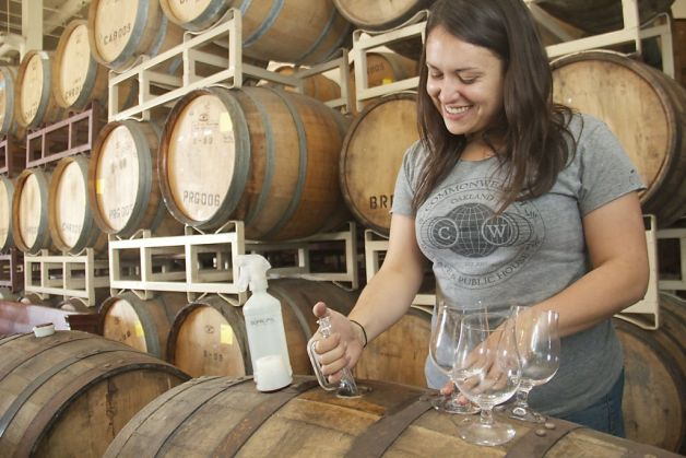 Pulling samples from barrels at Drake's Brewing.  Photo: Kelsey Williams