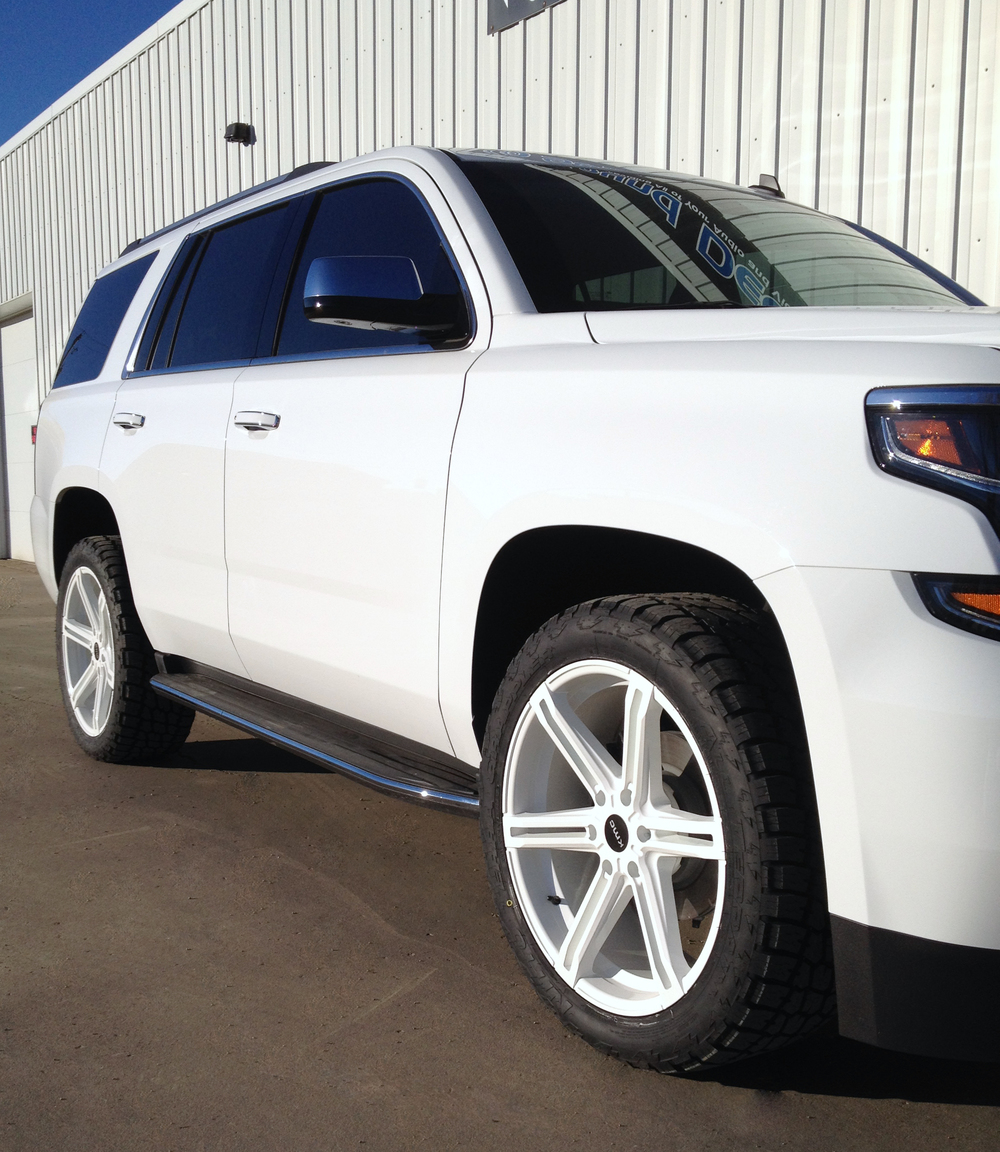 "2015 Chevy Tahoe - Custom Powder Coated 22"" KMC Faction Wheels"