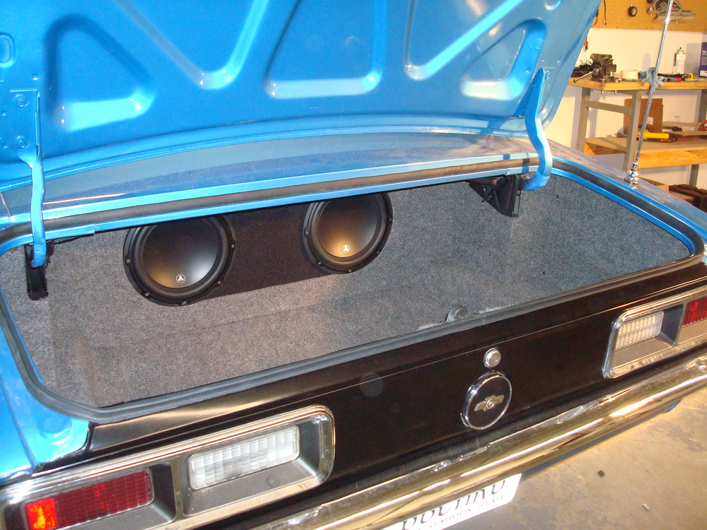 "1968 Camaro - Alpine CD Receiver, Rear 6x9"" Speakers, Custom Subwoofer Enclosure & Trunk Finishing"