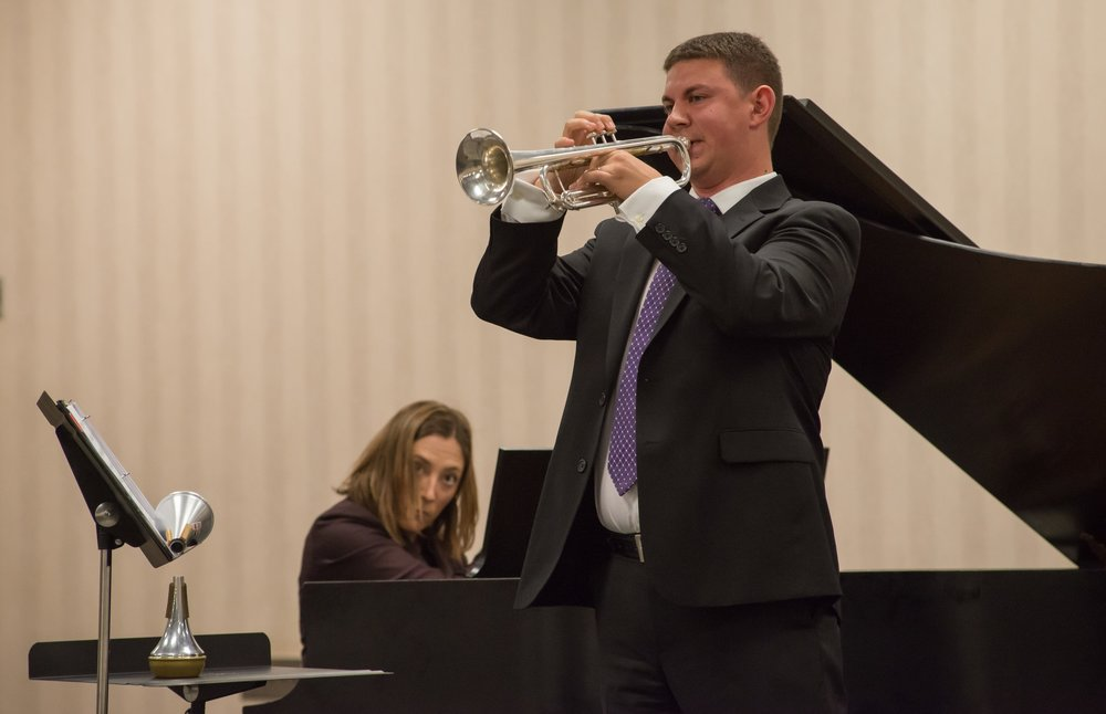 Performing Daniel Kallman's Sonata for Trumpet and Piano at the 2015 ITG New Works Recital with Aimee Fincher, piano