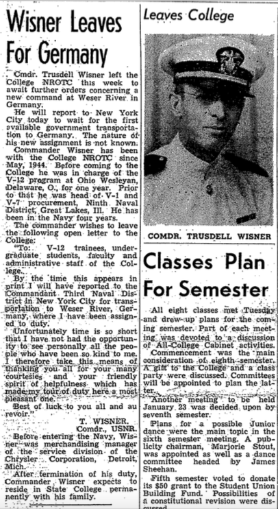 """Wisner Leaves for Germany ."" The Collegian . 11 January 1946. Pennsylvania State Archives."