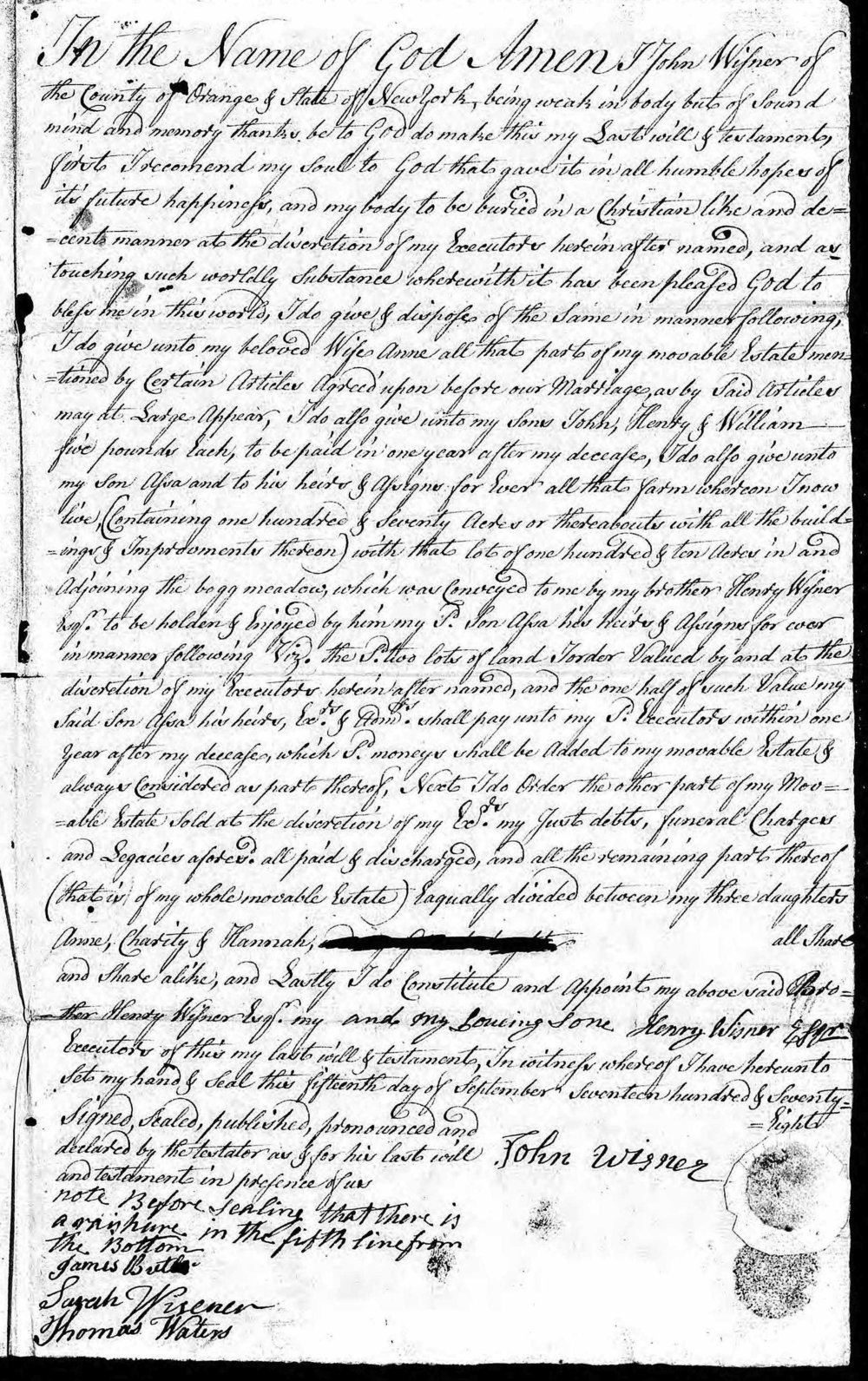 Surrogate's Court, Albany, New York.   Probate Record for John Wisner. 15 Sep. 1778. New York State Archives.