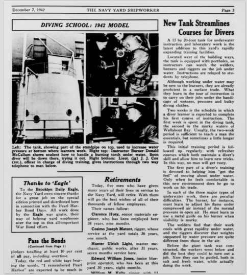 """New Tank Streamlines Courses for Divers.""  The Shipworker.  7 Dec. 1942. Retrieved from the  Brooklyn Navy Yard Archives ."