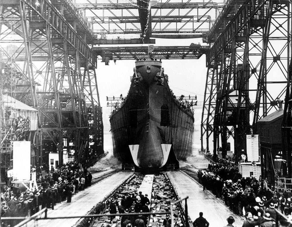 Launch of the USS  Missouri.  29 January, 1944. Retrieved from the Brooklyn Navy Yard Archive.
