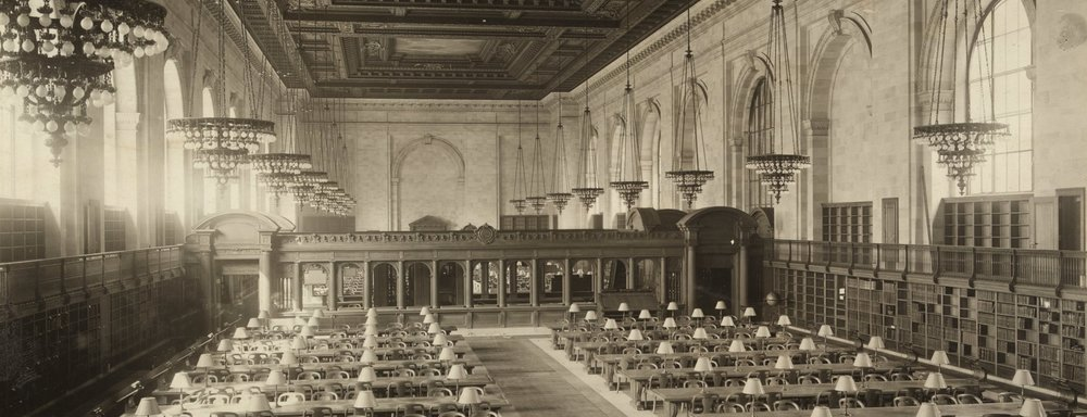 Image:   New York City Public Library Reading Room  . c. 1911. Library of Congress, Prints and Photographs Division.